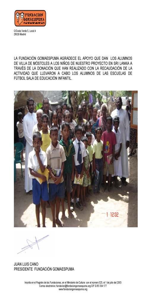 Agradecimiento de la Fundación Gomaespuma