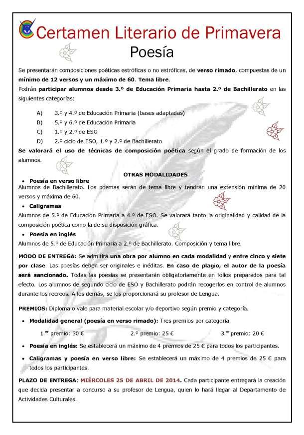 Certamen de Primavera Colegio Villa de Móstoles fecha límte 9 de abril